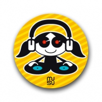 Round bike sticker - DJ girl