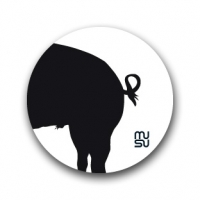 Round bike sticker - pig rear