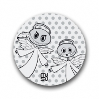 Reflective round bike sticker - angels