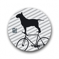Reflective round bike sticker - bullterrier