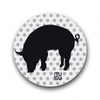 Reflective round bike sticker - pig