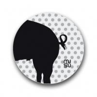 Reflective round bike sticker - pig rear