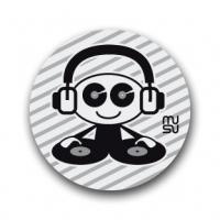Reflective round bike sticker - DJ boy