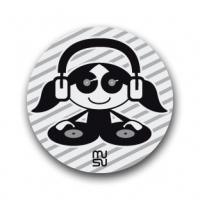 Reflective round bike sticker - DJ girl