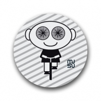 Reflective round bike sticker - spoke-eyed boy