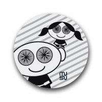 Reflective round bike sticker - spoke-eyed boy-girl