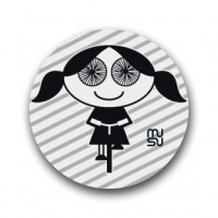 Reflective round bike sticker - spoke-eyed girl