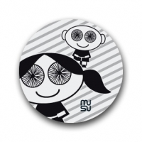 Reflective round bike sticker - spoke-eyed girl-boy