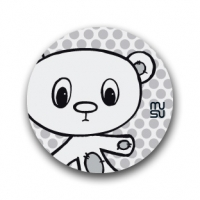 Reflective round bike sticker - bear