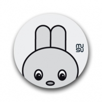 Reflective round bike sticker - rabbit head