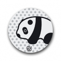 Reflective round bike sticker - panda