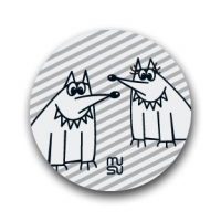Reflective round bike sticker - foxes