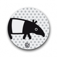 Reflective round bike sticker - tapir