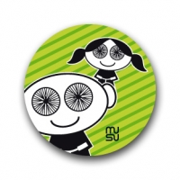 Round bike sticker - spoke-eyed children (boy-girl)