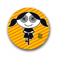 Round bike sticker - spoke-eyed girl