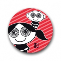 Round bike sticker - spoke-eyed children (girl-boy)